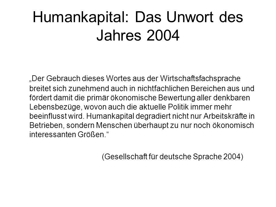 """Humankapital: Das Unwort des Jahres 2004 """"Der Gebrauch dieses Wortes aus der Wirtschaftsfachsprache breitet sich zunehmend auch in nichtfachlichen Ber"""