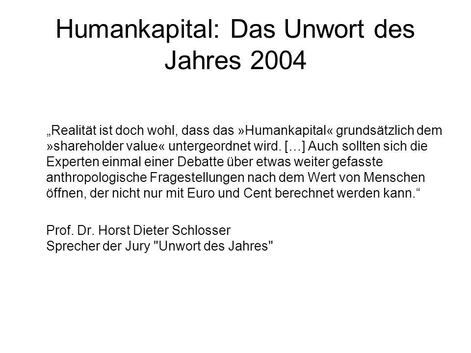 """Humankapital: Das Unwort des Jahres 2004 """"Realität ist doch wohl, dass das »Humankapital« grundsätzlich dem »shareholder value« untergeordnet wird. […"""