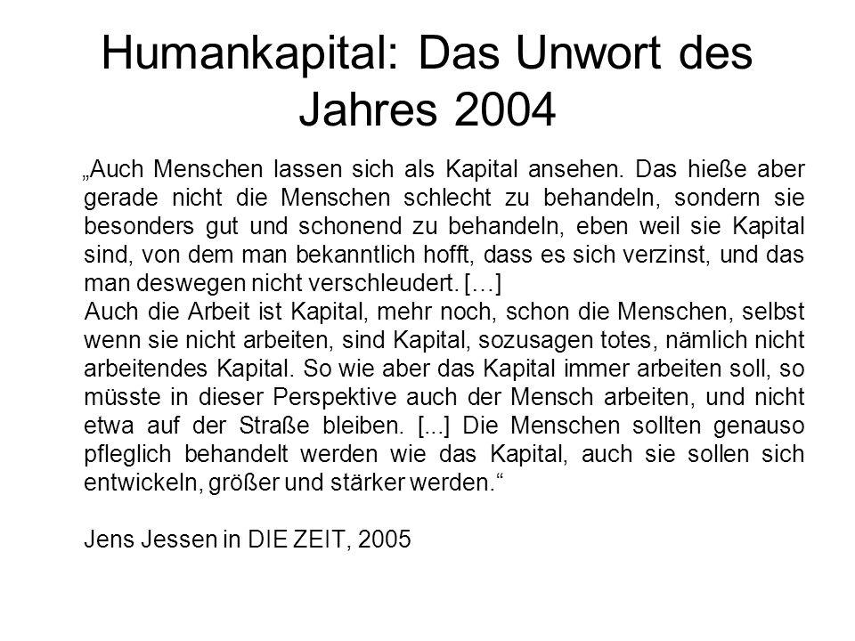 """Humankapital: Das Unwort des Jahres 2004 """"Auch Menschen lassen sich als Kapital ansehen. Das hieße aber gerade nicht die Menschen schlecht zu behandel"""