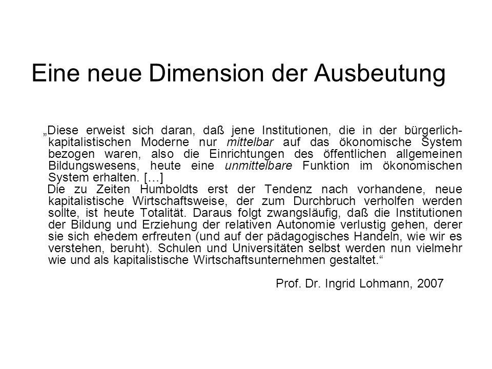 """Eine neue Dimension der Ausbeutung """"Diese erweist sich daran, daß jene Institutionen, die in der bürgerlich- kapitalistischen Moderne nur mittelbar au"""