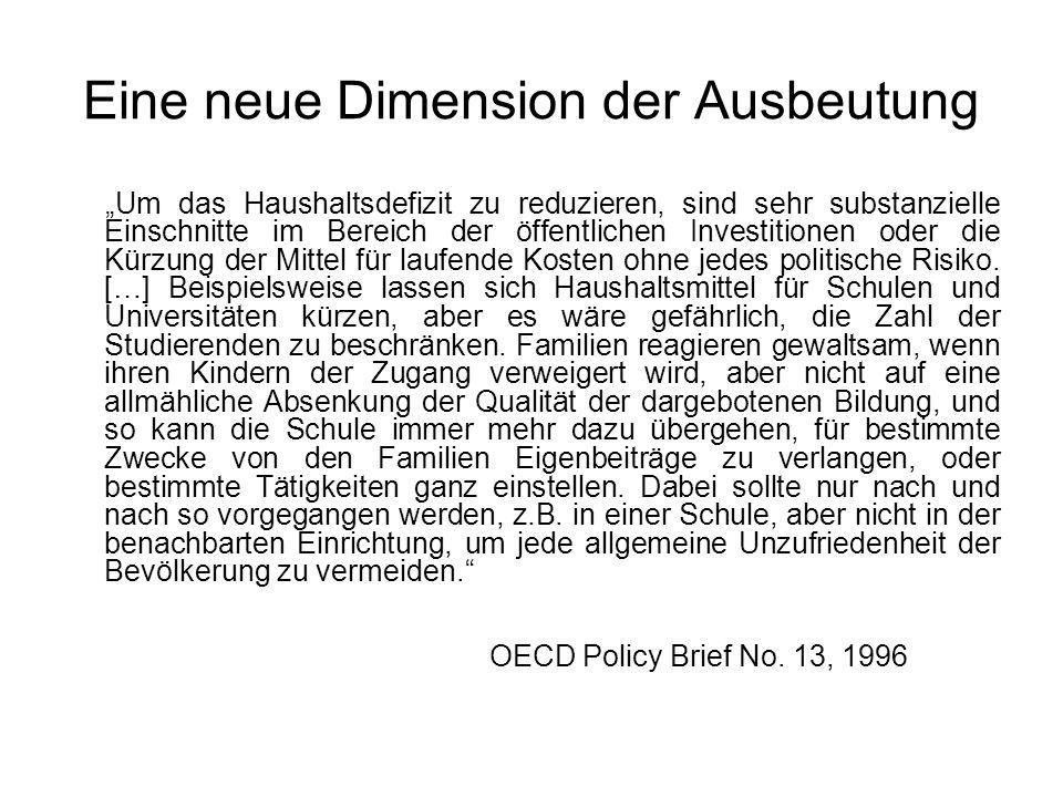 """Eine neue Dimension der Ausbeutung """"Um das Haushaltsdefizit zu reduzieren, sind sehr substanzielle Einschnitte im Bereich der öffentlichen Investition"""
