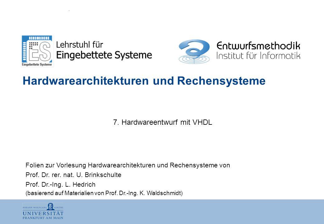 HWR · K7 Nr.:2 Uwe Brinkschulte  Eingebettete Systeme  Lars Hedrich  Entwurfsmethodik Gliederung 7.1 Hardwareentwurf 7.2 VHDL
