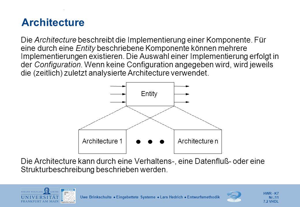 HWR · K7 Nr.:11 Uwe Brinkschulte  Eingebettete Systeme  Lars Hedrich  Entwurfsmethodik Architecture Die Architecture beschreibt die Implementierung