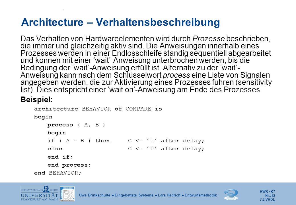 HWR · K7 Nr.:12 Uwe Brinkschulte  Eingebettete Systeme  Lars Hedrich  Entwurfsmethodik Architecture – Verhaltensbeschreibung Das Verhalten von Hard