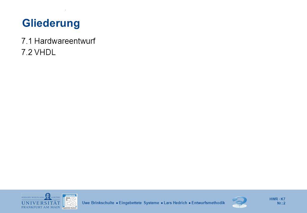HWR · K7 Nr.:3 Uwe Brinkschulte  Eingebettete Systeme  Lars Hedrich  Entwurfsmethodik 7.1 Hardwareentwurf Durch die steigenden Integrationsdichten und die anwachsende Schaltungskomplexität ist der Entwurf integrierter Schaltungen heute nur schwer beherrschbar.