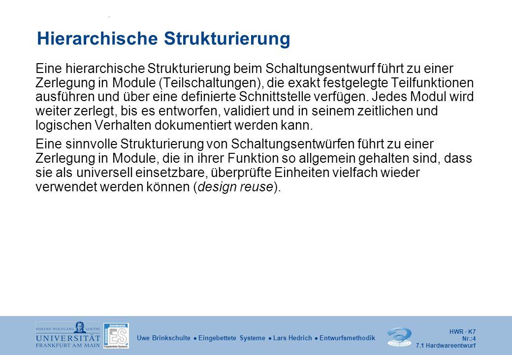HWR · K7 Nr.:15 Uwe Brinkschulte  Eingebettete Systeme  Lars Hedrich  Entwurfsmethodik Beispiel – endlicher Automat entity MEALY is port (X, CLK: in BIT; Z: out BIT ); end MEALY; Exemplarisch wird die Modellierung der sequentiellen Logik (COMBIN) und der Zeitglieder in den Rückkopplungspfaden (SYNCH) in getrennten Prozessen vorgestellt: architecture BEHAVIOR of MEALY is type STATE_TYPE is ( S0, S1, S2 ); signal CURRENT_STATE, NEXT_STATE: STATE_TYPE; begin COMBIN: process ( CURRENT_STATE, X ) … SYNCH: process … end BEHAVIOR; -/0 S0 S1S2 0/1 1/0 0/0 1/1 7.2 VHDL