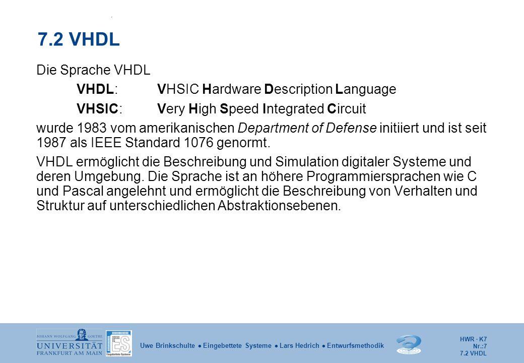 HWR · K7 Nr.:8 Uwe Brinkschulte  Eingebettete Systeme  Lars Hedrich  Entwurfsmethodik VHDL Eine VHDL-Beschreibung besteht aus: package: Fasst Gruppen verwandter, globaler Deklarationen zusammen.