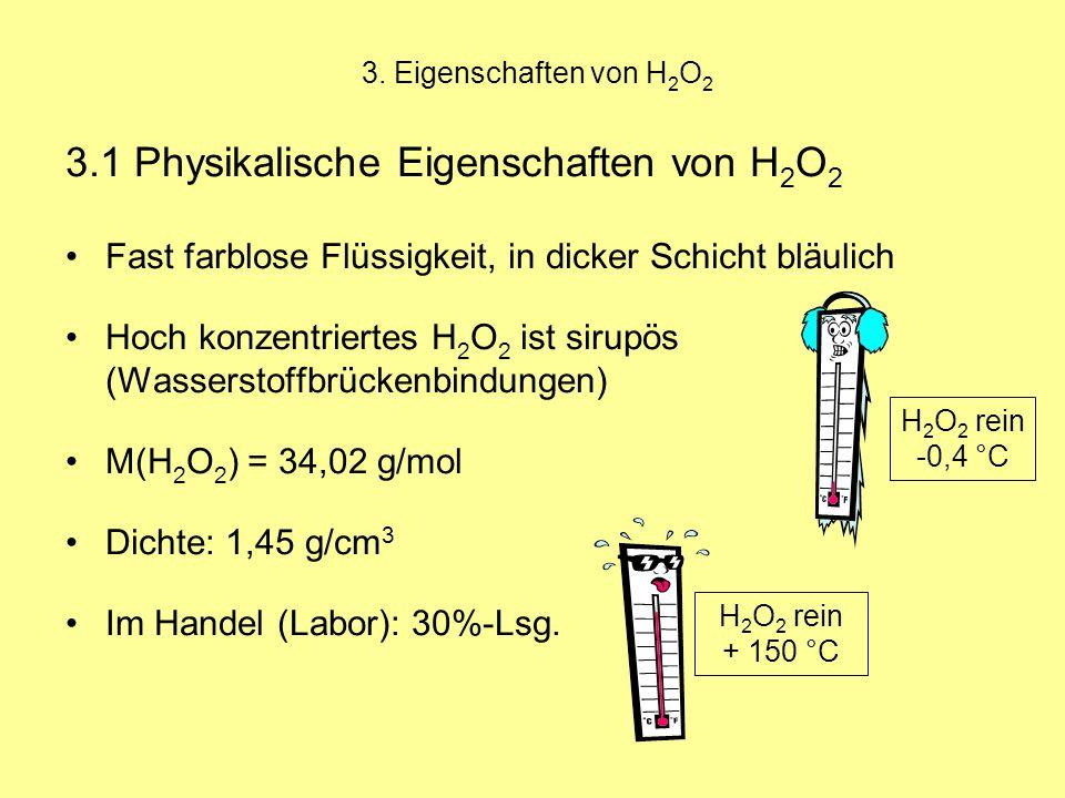 3.1 Physikalische Eigenschaften von H 2 O 2 Fast farblose Flüssigkeit, in dicker Schicht bläulich Hoch konzentriertes H 2 O 2 ist sirupös (Wasserstoffbrückenbindungen) M(H 2 O 2 ) = 34,02 g/mol Dichte: 1,45 g/cm 3 Im Handel (Labor): 30%-Lsg.