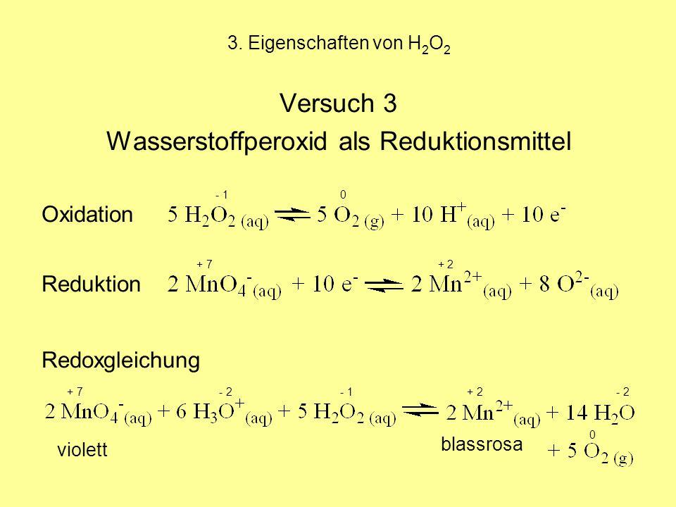 3. Eigenschaften von H 2 O 2 Versuch 3 Wasserstoffperoxid als Reduktionsmittel - 1 0 Oxidation + 7 + 2 Reduktion Redoxgleichung + 7 - 2 - 1 + 2 - 2 vi