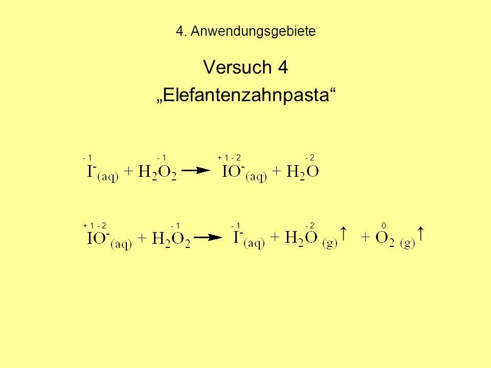 """4. Anwendungsgebiete Versuch 4 """"Elefantenzahnpasta - 1 - 1 + 1 - 2 - 2 + 1 - 2 - 1 - 1 - 2 0 ↑↑"""