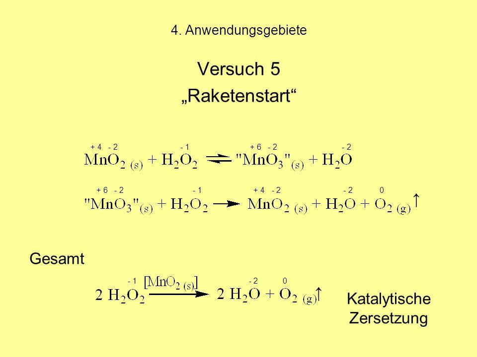 """4. Anwendungsgebiete Versuch 5 """"Raketenstart"""" + 4 - 2 - 1 + 6 - 2 - 2 + 6 - 2 - 1 + 4 - 2 - 2 0 Gesamt - 1 - 2 0 ↑ ↑ Katalytische Zersetzung"""