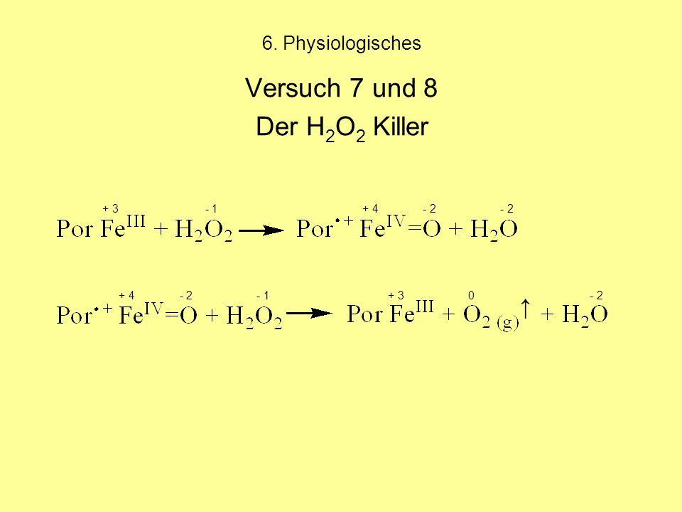 6. Physiologisches Versuch 7 und 8 Der H 2 O 2 Killer + 3 - 1 + 4 - 2 - 2 + 4 - 2 - 1 + 3 0 - 2 ↑