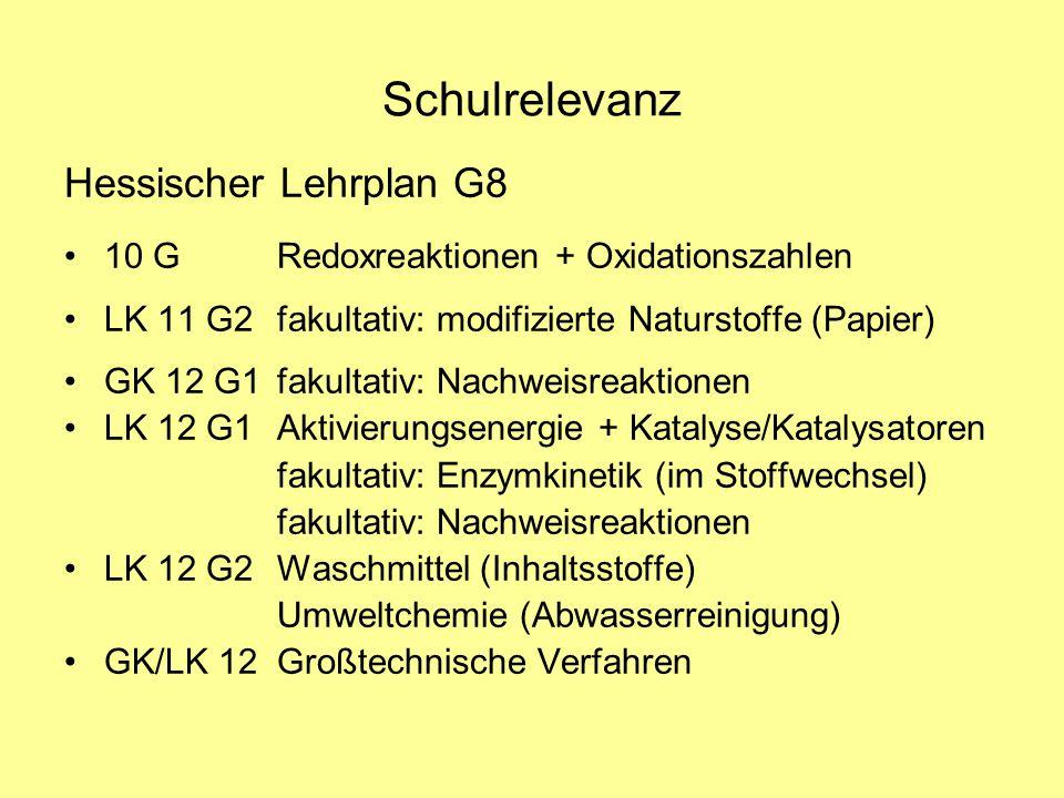Schulrelevanz Hessischer Lehrplan G8 10 GRedoxreaktionen + Oxidationszahlen LK 11 G2fakultativ: modifizierte Naturstoffe (Papier) GK 12 G1fakultativ: Nachweisreaktionen LK 12 G1Aktivierungsenergie + Katalyse/Katalysatoren fakultativ: Enzymkinetik (im Stoffwechsel) fakultativ: Nachweisreaktionen LK 12 G2Waschmittel (Inhaltsstoffe) Umweltchemie (Abwasserreinigung) GK/LK 12Großtechnische Verfahren
