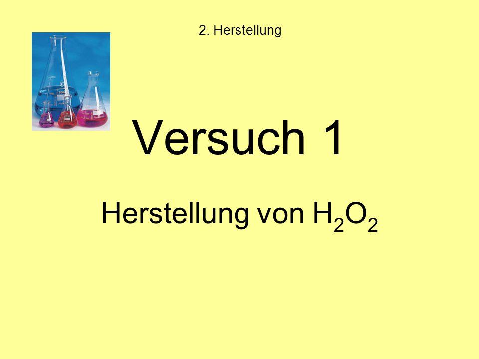 Versuch 1 Herstellung von H 2 O 2 2. Herstellung