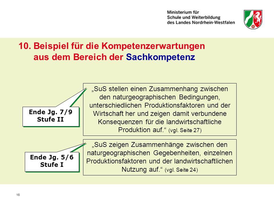 """16 10. Beispiel für die Kompetenzerwartungen aus dem Bereich der Sachkompetenz """"SuS stellen einen Zusammenhang zwischen den naturgeographischen Beding"""