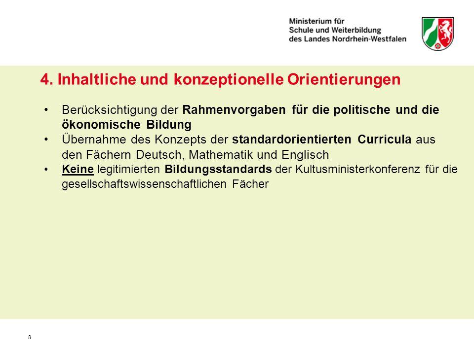 8 4. Inhaltliche und konzeptionelle Orientierungen Berücksichtigung der Rahmenvorgaben für die politische und die ökonomische Bildung Übernahme des Ko