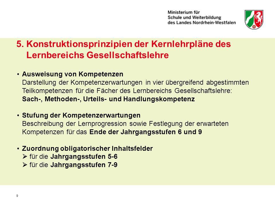 9 5. Konstruktionsprinzipien der Kernlehrpläne des Lernbereichs Gesellschaftslehre Ausweisung von Kompetenzen Darstellung der Kompetenzerwartungen in