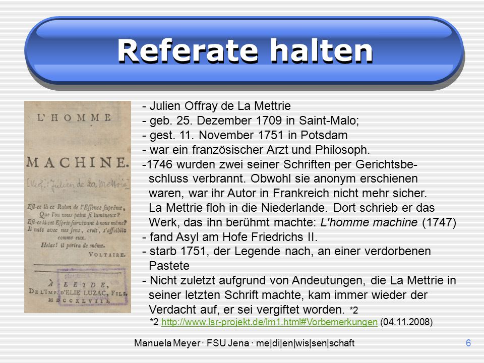 Manuela Meyer · FSU Jena · me|di|en|wis|sen|schaft5 Referate halten Einen Text referieren heißt, ihn wertfrei und ohne eigene Meinung wiederzugeben. K