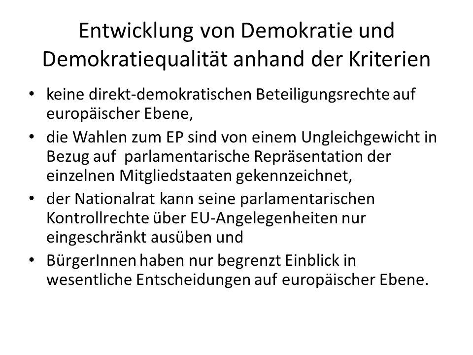 Entwicklung von Demokratie und Demokratiequalität anhand der Kriterien keine direkt-demokratischen Beteiligungsrechte auf europäischer Ebene, die Wahl