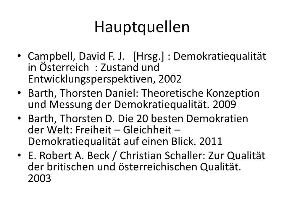Hauptquellen Campbell, David F. J. [Hrsg.] : Demokratiequalität in Österreich : Zustand und Entwicklungsperspektiven, 2002 Barth, Thorsten Daniel: The