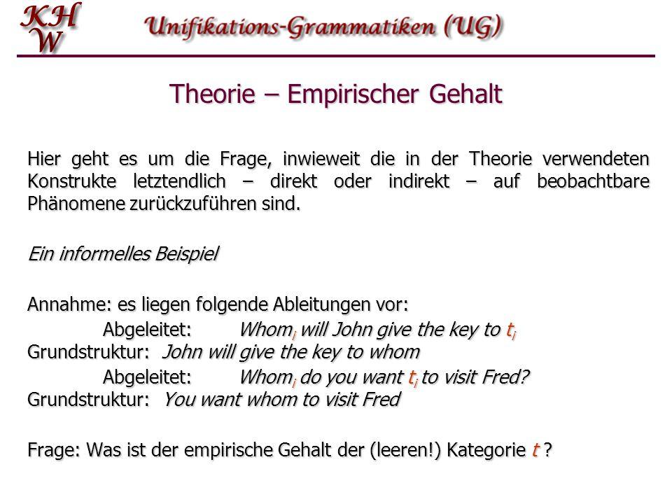 Hier geht es um die Frage, inwieweit die in der Theorie verwendeten Konstrukte letztendlich – direkt oder indirekt – auf beobachtbare Phänomene zurück
