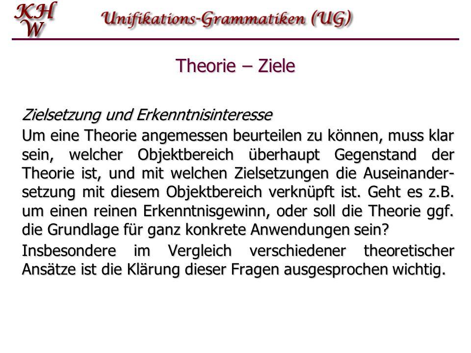 Zielsetzung und Erkenntnisinteresse Um eine Theorie angemessen beurteilen zu können, muss klar sein, welcher Objektbereich überhaupt Gegenstand der Th