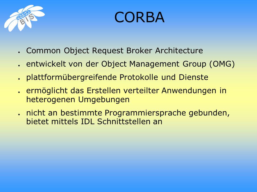 CORBA ● Common Object Request Broker Architecture ● entwickelt von der Object Management Group (OMG) ● plattformübergreifende Protokolle und Dienste ● ermöglicht das Erstellen verteilter Anwendungen in heterogenen Umgebungen ● nicht an bestimmte Programmiersprache gebunden, bietet mittels IDL Schnittstellen an