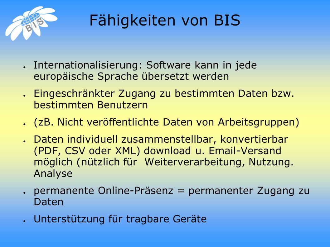 Fähigkeiten von BIS ● Internationalisierung: Software kann in jede europäische Sprache übersetzt werden ● Eingeschränkter Zugang zu bestimmten Daten bzw.