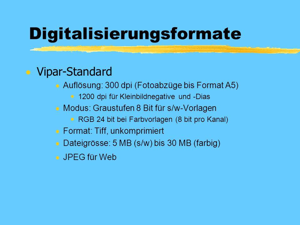 Digitalisierungsformate  Vipar-Standard  Auflösung: 300 dpi (Fotoabzüge bis Format A5)  1200 dpi für Kleinbildnegative und -Dias  Modus: Graustufen 8 Bit für s/w-Vorlagen  RGB 24 bit bei Farbvorlagen (8 bit pro Kanal)  Format: Tiff, unkomprimiert  Dateigrösse: 5 MB (s/w) bis 30 MB (farbig)  JPEG für Web
