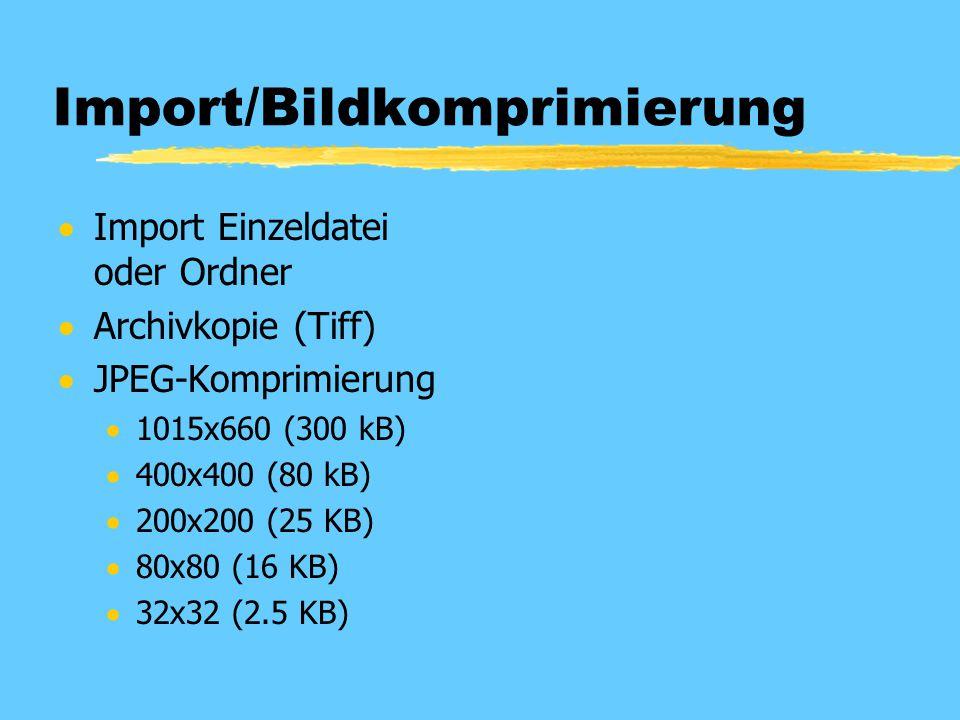 Import/Bildkomprimierung  Import Einzeldatei oder Ordner  Archivkopie (Tiff)  JPEG-Komprimierung  1015x660 (300 kB)  400x400 (80 kB)  200x200 (2