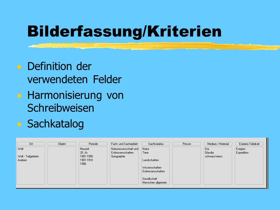 Bilderfassung/Kriterien  Definition der verwendeten Felder  Harmonisierung von Schreibweisen  Sachkatalog