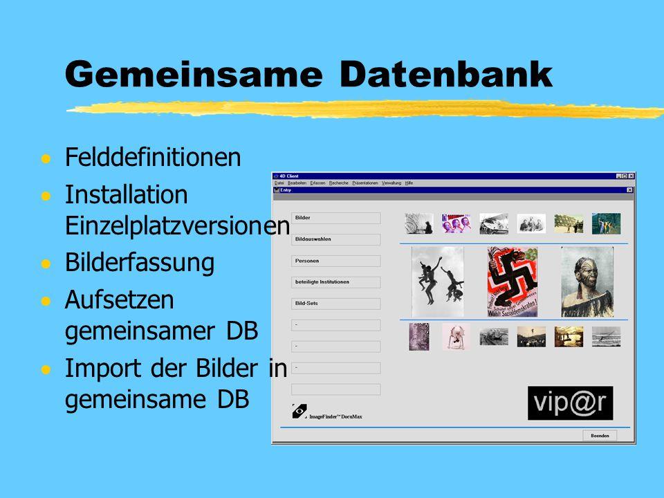 Gemeinsame Datenbank  Felddefinitionen  Installation Einzelplatzversionen  Bilderfassung  Aufsetzen gemeinsamer DB  Import der Bilder in gemeinsa