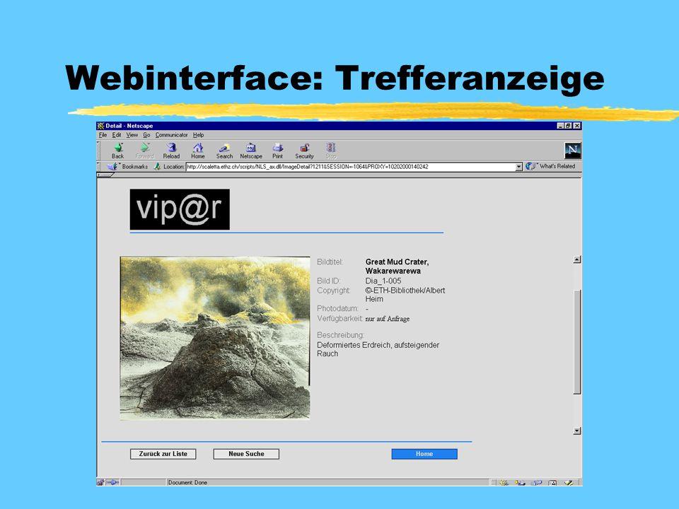 Webinterface: Trefferanzeige