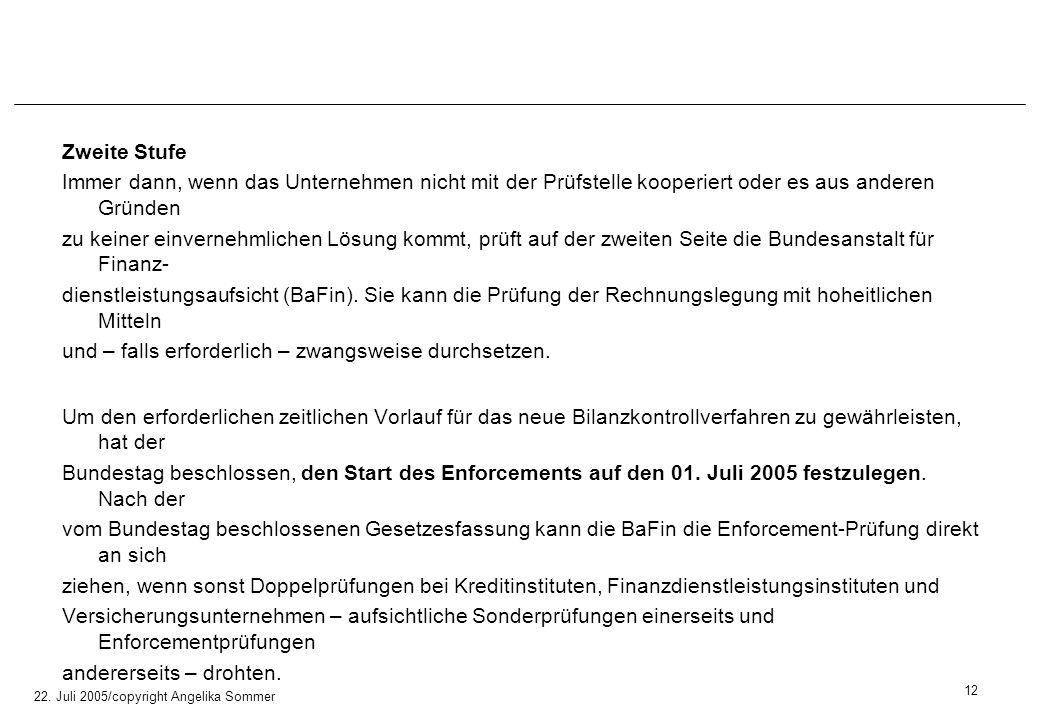 22. Juli 2005/copyright Angelika Sommer Zweite Stufe Immer dann, wenn das Unternehmen nicht mit der Prüfstelle kooperiert oder es aus anderen Gründen