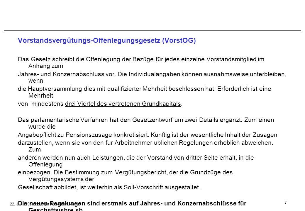 22. Juli 2005/copyright Angelika Sommer Vorstandsvergütungs-Offenlegungsgesetz (VorstOG) Das Gesetz schreibt die Offenlegung der Bezüge für jedes einz