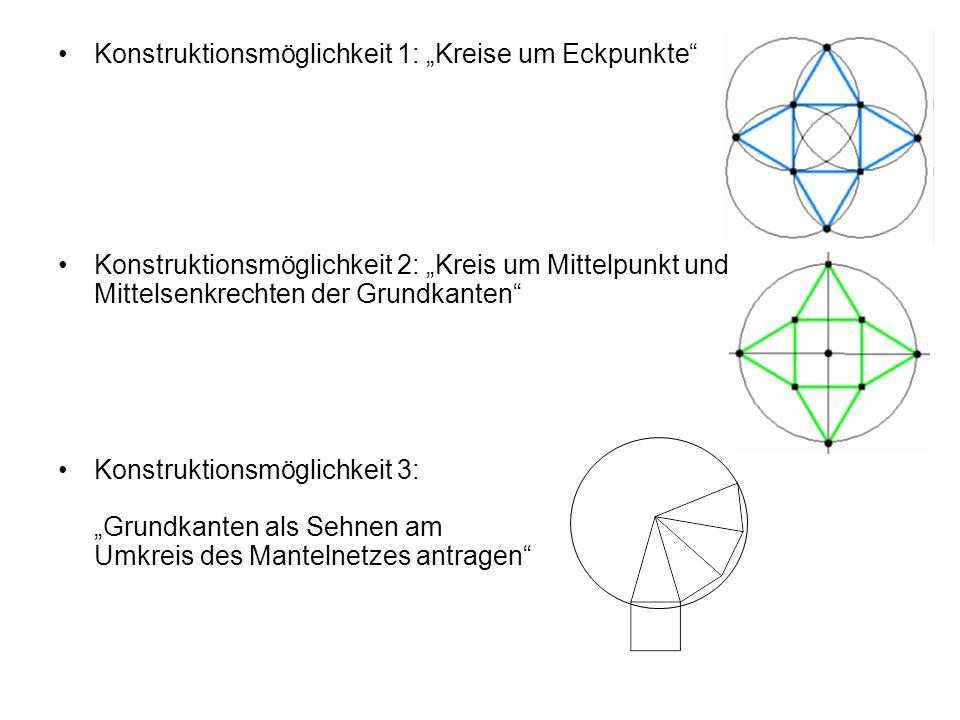 """Konstruktionsmöglichkeit 1: """"Kreise um Eckpunkte"""" Konstruktionsmöglichkeit 2: """"Kreis um Mittelpunkt und Mittelsenkrechten der Grundkanten"""" Konstruktio"""