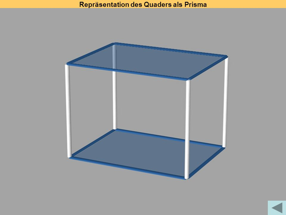 Repräsentation des Quaders als Prisma
