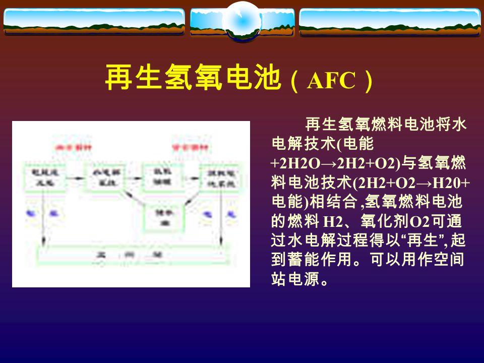 再生氢氧电池 ( AFC ) 再生氢氧燃料电池将水 电解技术 ( 电能 +2H2O→2H2+O2) 与氢氧燃 料电池技术 (2H2+O2→H20+ 电能 ) 相结合, 氢氧燃料电池 的燃料 H2 、氧化剂 O2 可通 过水电解过程得以 再生 , 起 到蓄能作用。可以用作空间 站电源。