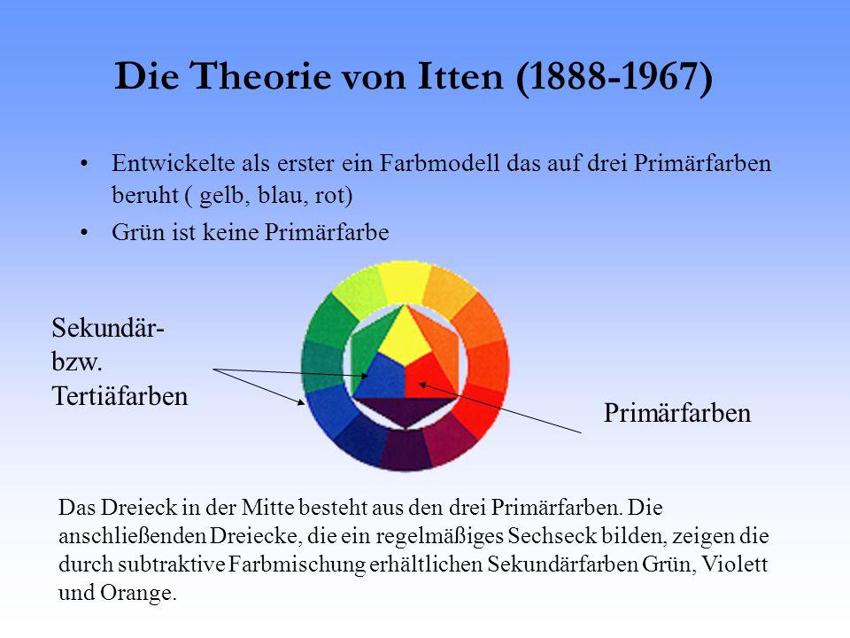Die Theorie von Itten (1888-1967) Entwickelte als erster ein Farbmodell das auf drei Primärfarben beruht ( gelb, blau, rot) Grün ist keine Primärfarbe Primärfarben Sekundär- bzw.