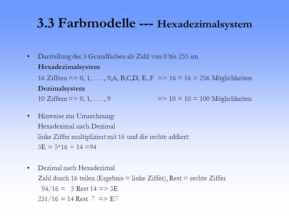 16 Ziffern => 0, 1,..., 9,A, B,C,D, E, F => 16 × 16 = 256 Möglichkeiten Dezimalsystem 10 Ziffern => 0, 1,..., 9 => 10 × 10 = 100 Möglichkeiten Hinweise zur Umrechnung: Hexadezimal nach Dezimal linke Ziffer multipliziert mit 16 und die rechte addiert: 5E = 5*16 + 14 =94 Dezimal nach Hexadezimal Zahl durch 16 teilen (Ergebnis = linke Ziffer), Rest = rechte Ziffer 94/16 = 5 Rest 14 => 5E 231/16 = 14 Rest 7 => E7 3.3 Farbmodelle --- Hexadezimalsystem Darstellung der 3 Grundfarben als Zahl von 0 bis 255 im Hexadezimalsystem