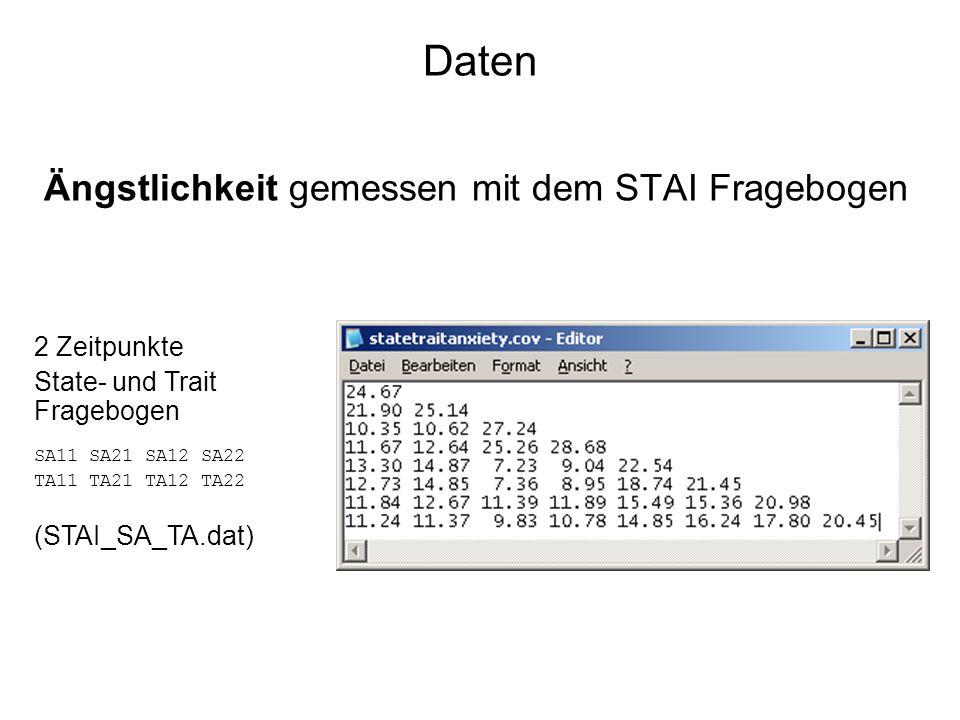 Daten Ängstlichkeit gemessen mit dem STAI Fragebogen 2 Zeitpunkte State- und Trait Fragebogen SA11 SA21 SA12 SA22 TA11 TA21 TA12 TA22 (STAI_SA_TA.dat)