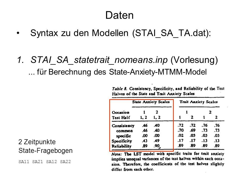Daten Syntax zu den Modellen (STAI_SA_TA.dat): 1.STAI_SA_statetrait_nomeans.inp (Vorlesung)... für Berechnung des State-Anxiety-MTMM-Model 2 Zeitpunkt