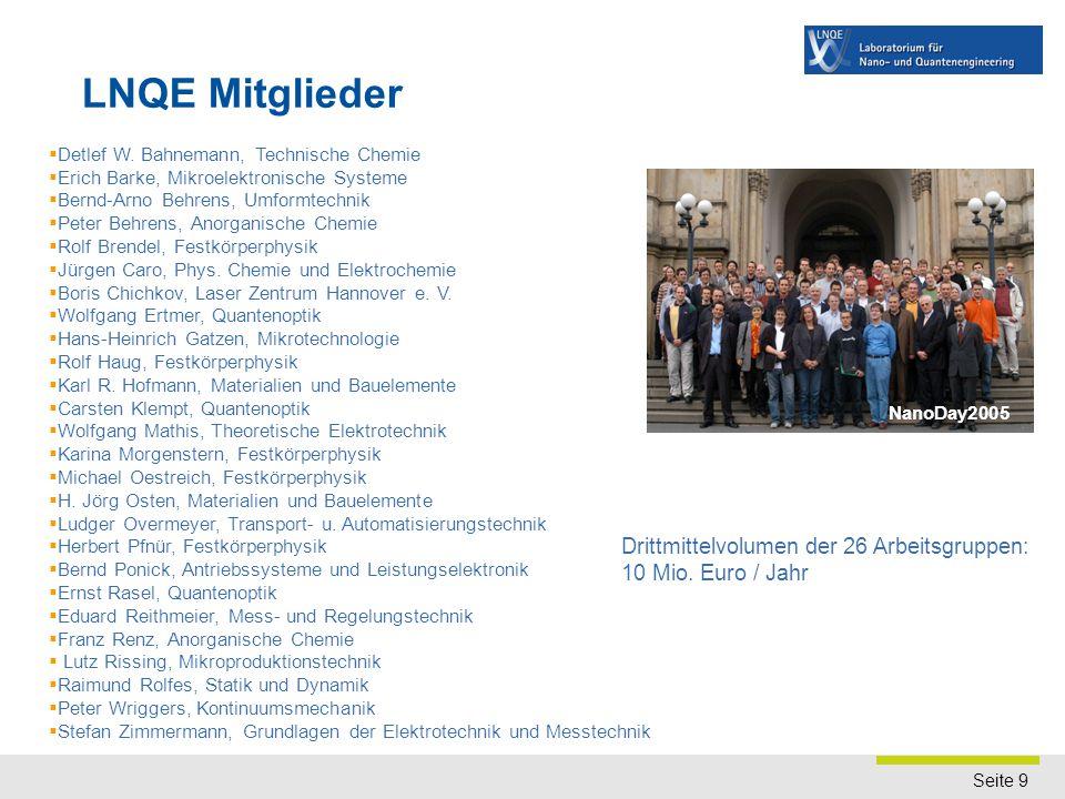 Seite 9  Detlef W. Bahnemann, Technische Chemie  Erich Barke, Mikroelektronische Systeme  Bernd-Arno Behrens, Umformtechnik  Peter Behrens, Anorga
