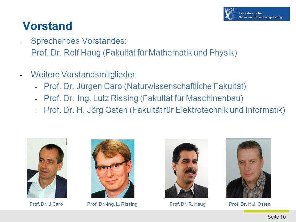 Seite 10 Vorstand - Sprecher des Vorstandes: Prof. Dr. Rolf Haug (Fakultät für Mathematik und Physik) - Weitere Vorstandsmitglieder - Prof. Dr. Jürgen