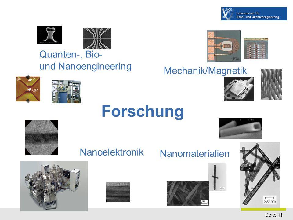 Seite 11 Quanten-, Bio- und Nanoengineering Mechanik/Magnetik Nanomaterialien Nanoelektronik Forschung