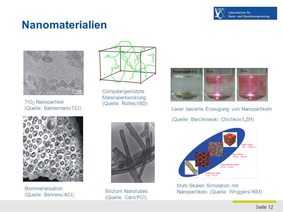 Seite 12 Nanomaterialien Biomineralisation (Quelle: Behrens/ACI) Silizium Nanotubes (Quelle: Caro/PCI) TiO 2 Nanopartikel (Quelle: Bahnemann/TCI) Lase
