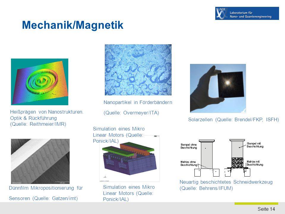 Seite 14 Mechanik/Magnetik Dünnfilm Mikropositionierung für Sensoren (Quelle: Gatzen/imt) Simulation eines Mikro Linear Motors (Quelle: Ponick/IAL) Ne