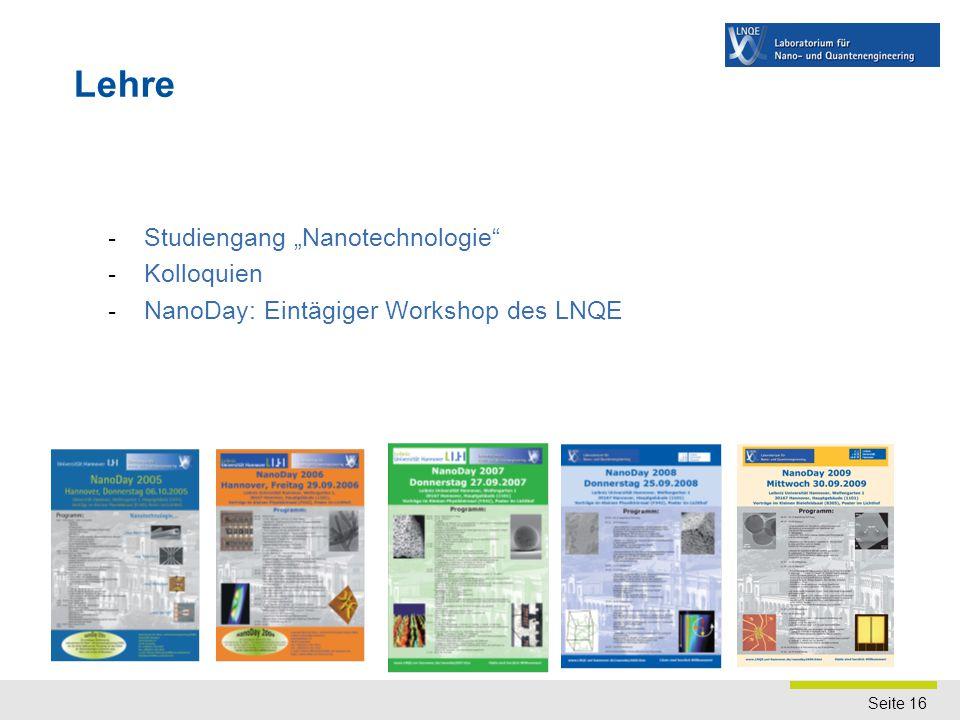 """Seite 16 - Studiengang """"Nanotechnologie"""" - Kolloquien - NanoDay: Eintägiger Workshop des LNQE Lehre"""
