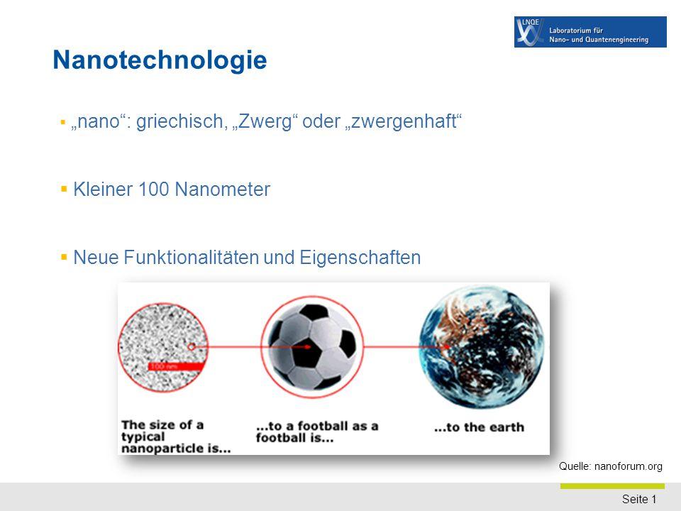 """Seite 1  """"nano"""": griechisch, """"Zwerg"""" oder """"zwergenhaft""""  Kleiner 100 Nanometer  Neue Funktionalitäten und Eigenschaften Nanotechnologie Quelle: nan"""