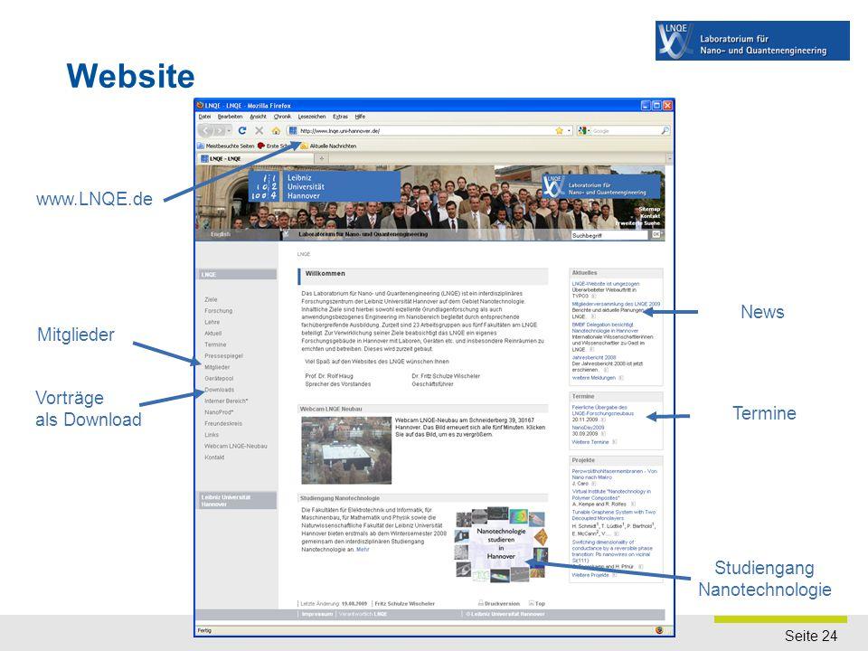 Seite 24 Website www.LNQE.de Vorträge als Download Mitglieder News Termine Studiengang Nanotechnologie